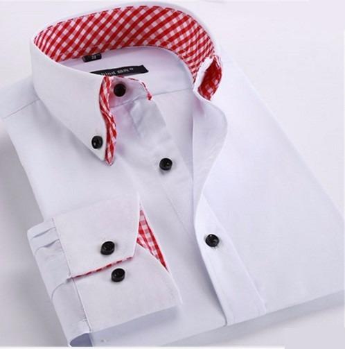 Camisa Social Casual Gola Dupla Slim Fit Pronta Entrega e494253e1f3f7