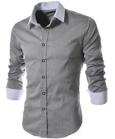 406f780ecb142 Camisa Social Gola V Masculino Casual Manga Longa - Camisas com o ...