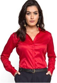 dff9e2dbd021 Camisa Social Dudalina Feminina - Vermelha