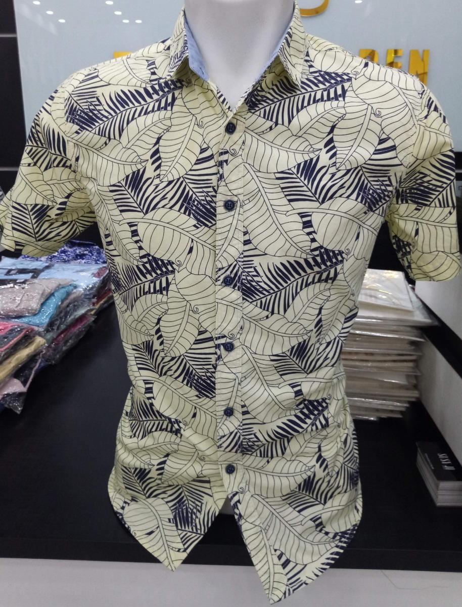 561c51feafa1e camisa social estampada masculina floral manga curta slim. Carregando zoom.