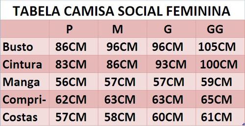 camisa social feminina 3/4 slim romênia frete grátis p/ 2 un