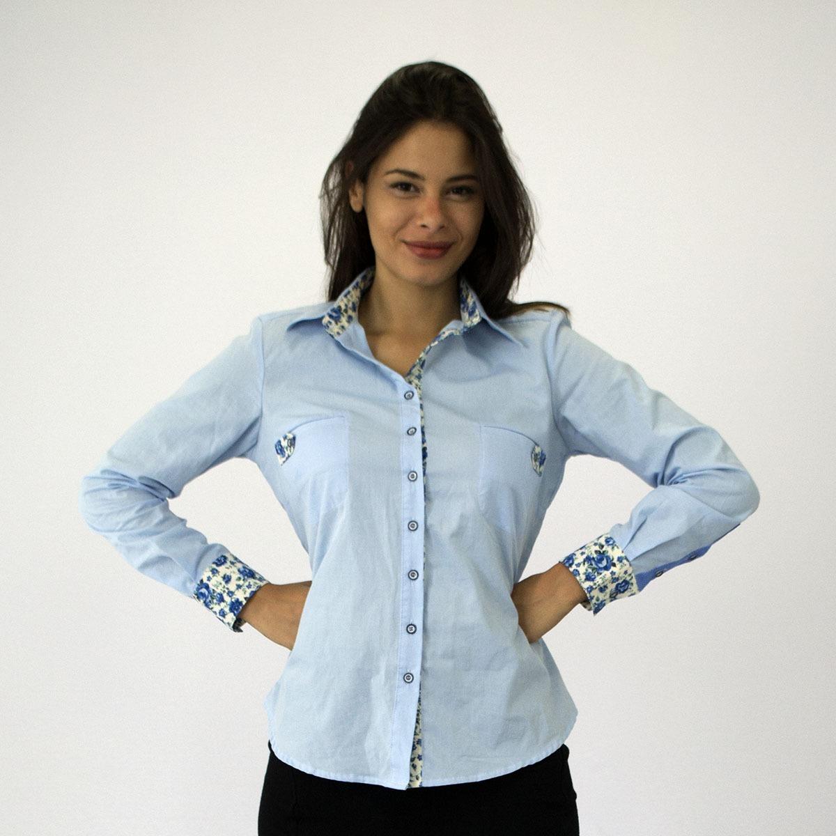 c3d031dba6 camisa social feminina azul claro com bolsos manga longa. Carregando zoom.