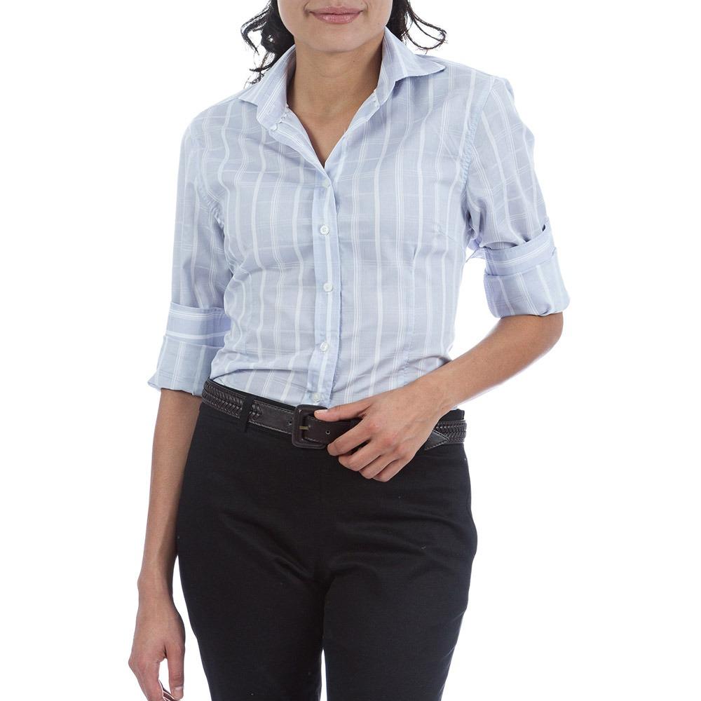 2dc23d473 camisa social feminina azul listrada colombo woman. Carregando zoom.
