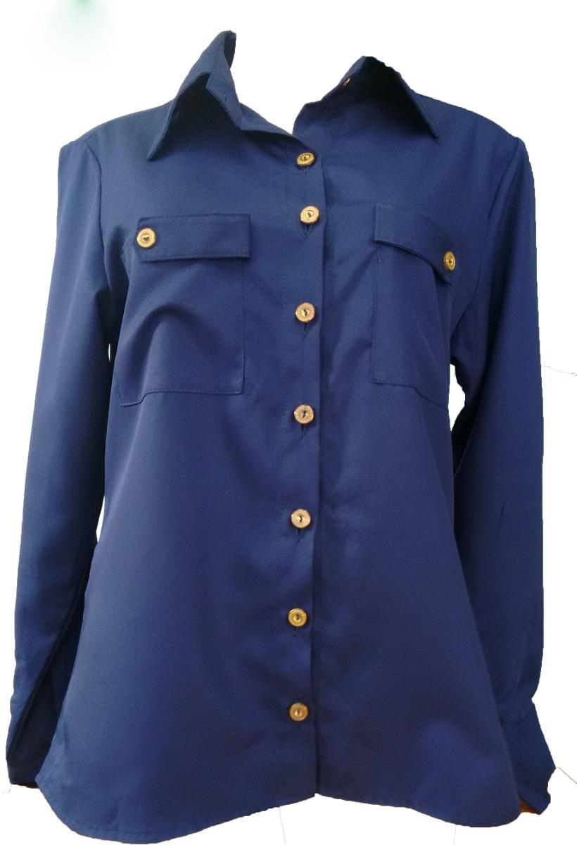camisa social feminina azul marinho. Carregando zoom. 515f318d5eb48