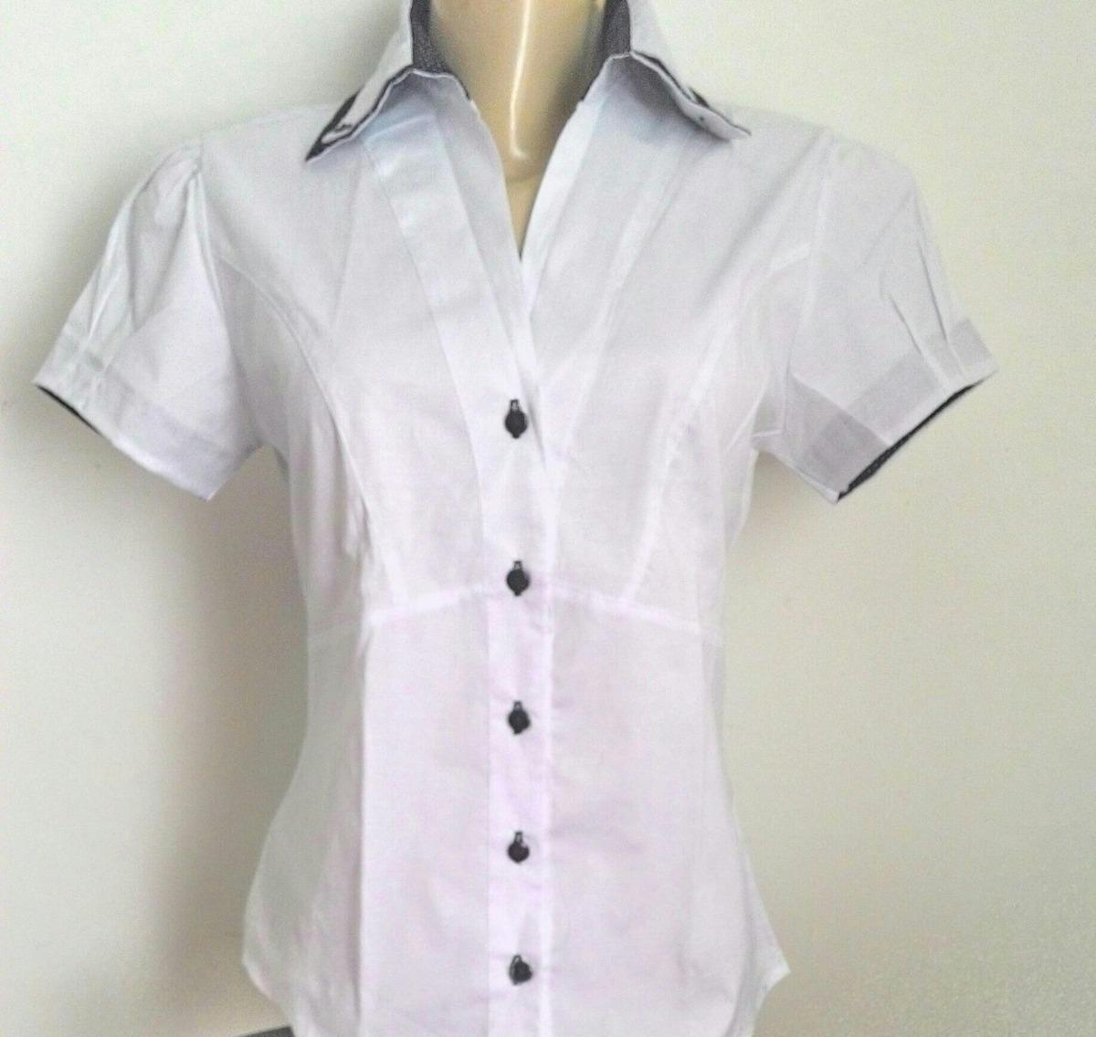 camisa social feminina branca manga curta. Carregando zoom. 4abe03bfcac28