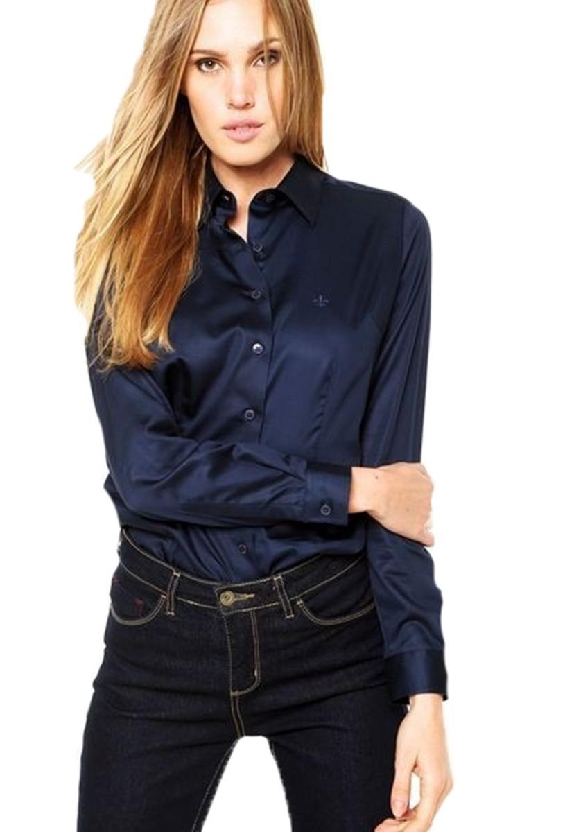 camisa social feminina dudalina - azul marinho. Carregando zoom. 59af87622eadf
