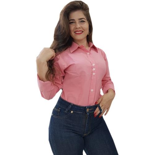 camisa social feminina justa slim tricoline promoção atacado