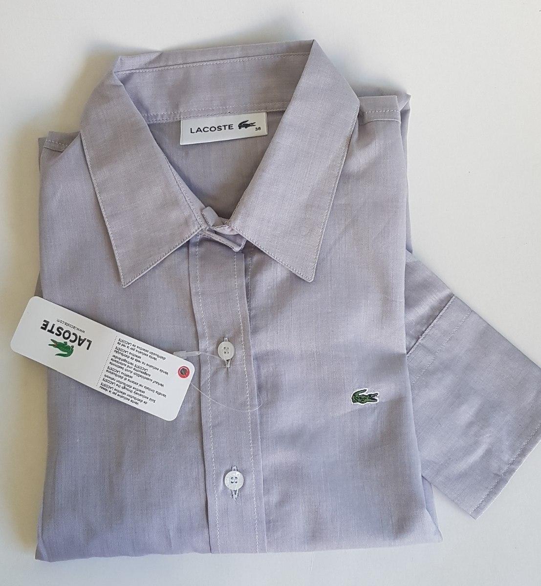 df1d7a2788716 camisa social feminina lacoste original cinza t36. Carregando zoom.