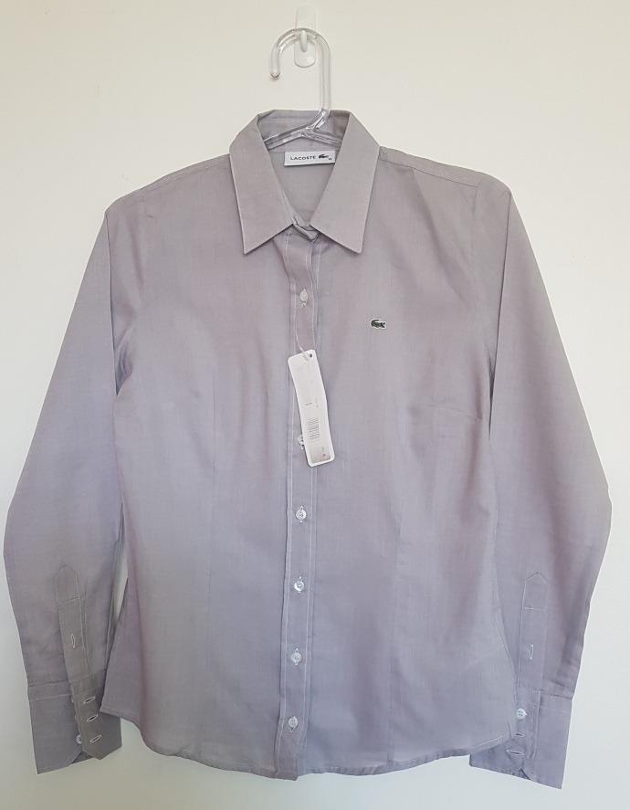 55b5b463737 camisa social feminina lacoste original cinza t36. Carregando zoom.