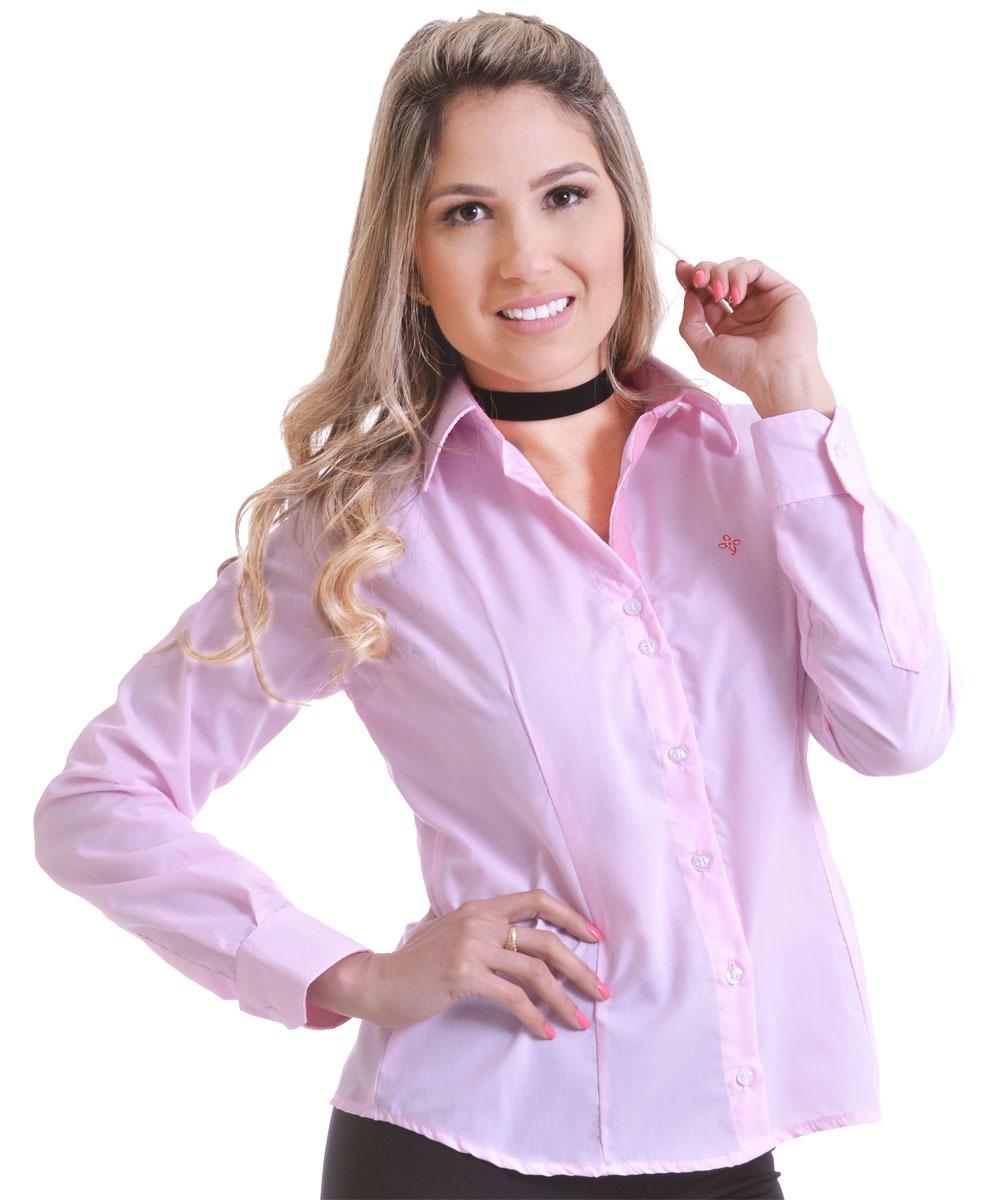 fab4454cb camisa social feminina manga longa slim rosa claro. Carregando zoom.