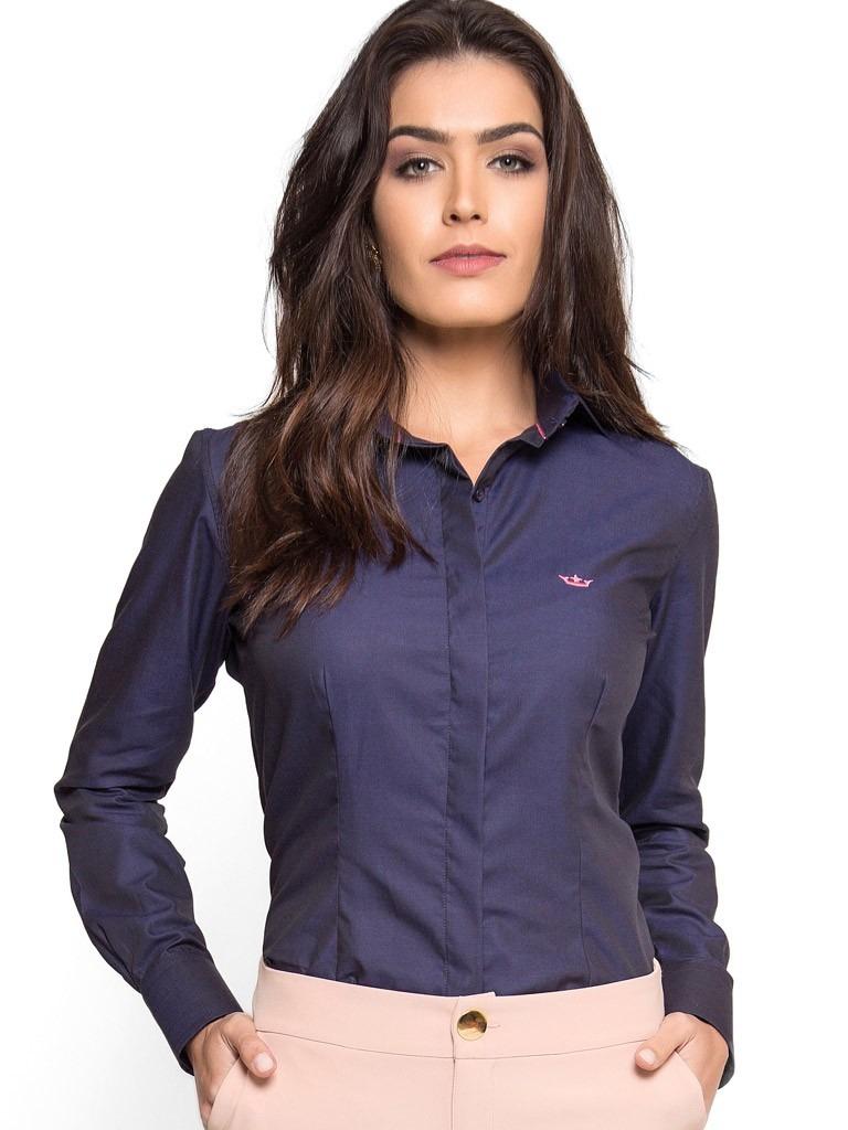 camisa social feminina premium marinho principessa nadine. Carregando zoom. 4418a4ce3b784