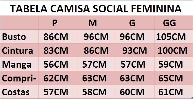 684d8d10f Camisa Social Feminina Slim Fit 3 4 Estilo Canada - R  69