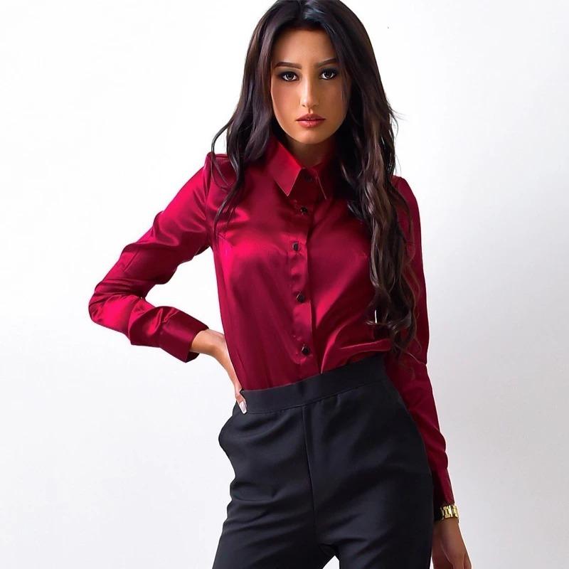 camisa social feminina slim fit premium vermelha casual top. Carregando  zoom. 2bfdfbc1a686c