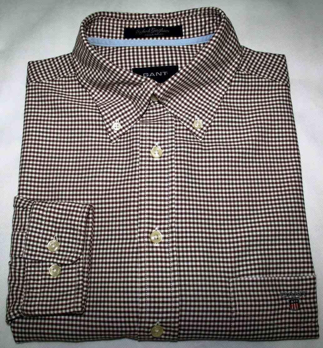 camisa social gant oxford xadrez marrom regular fit tam. m. Carregando zoom. 246bf323ec84e