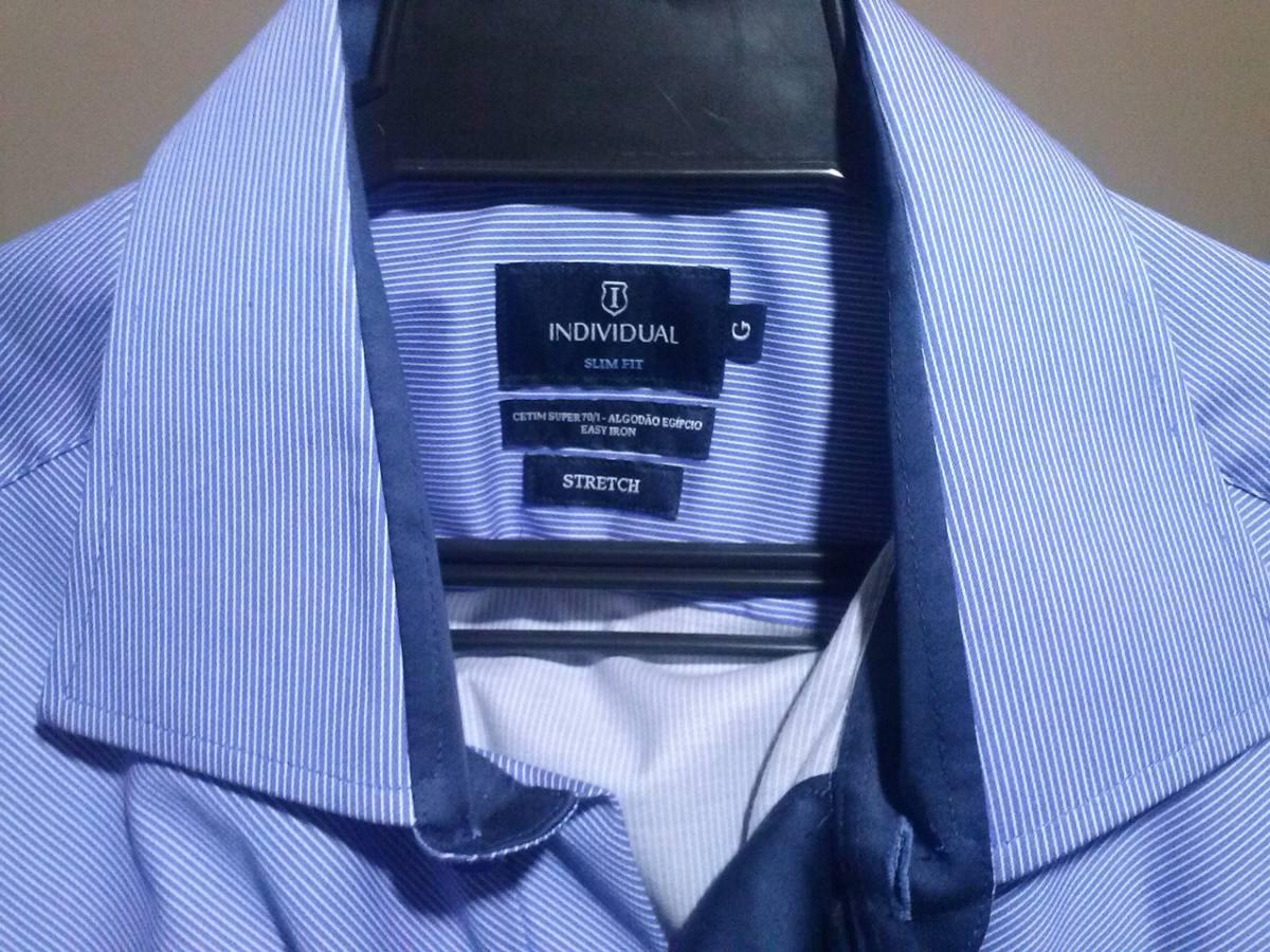 e70e9f2cdc camisa social - individual slim fit estretch . Carregando zoom.