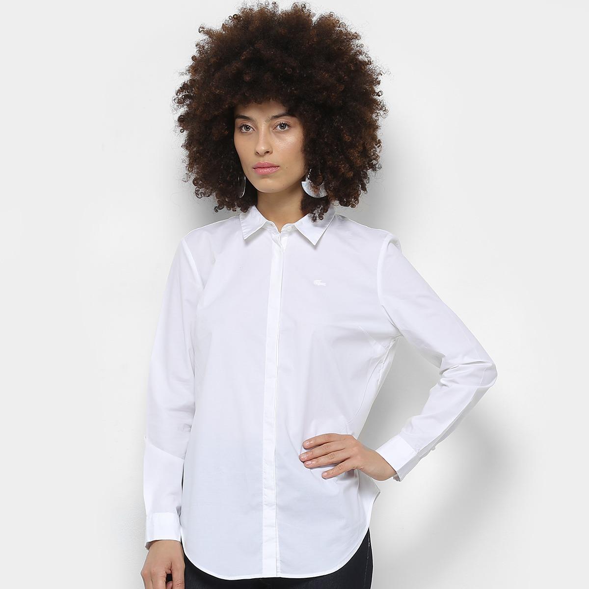 6546b68ca2dac camisa social lacoste feminina slim fit - branca. Carregando zoom.