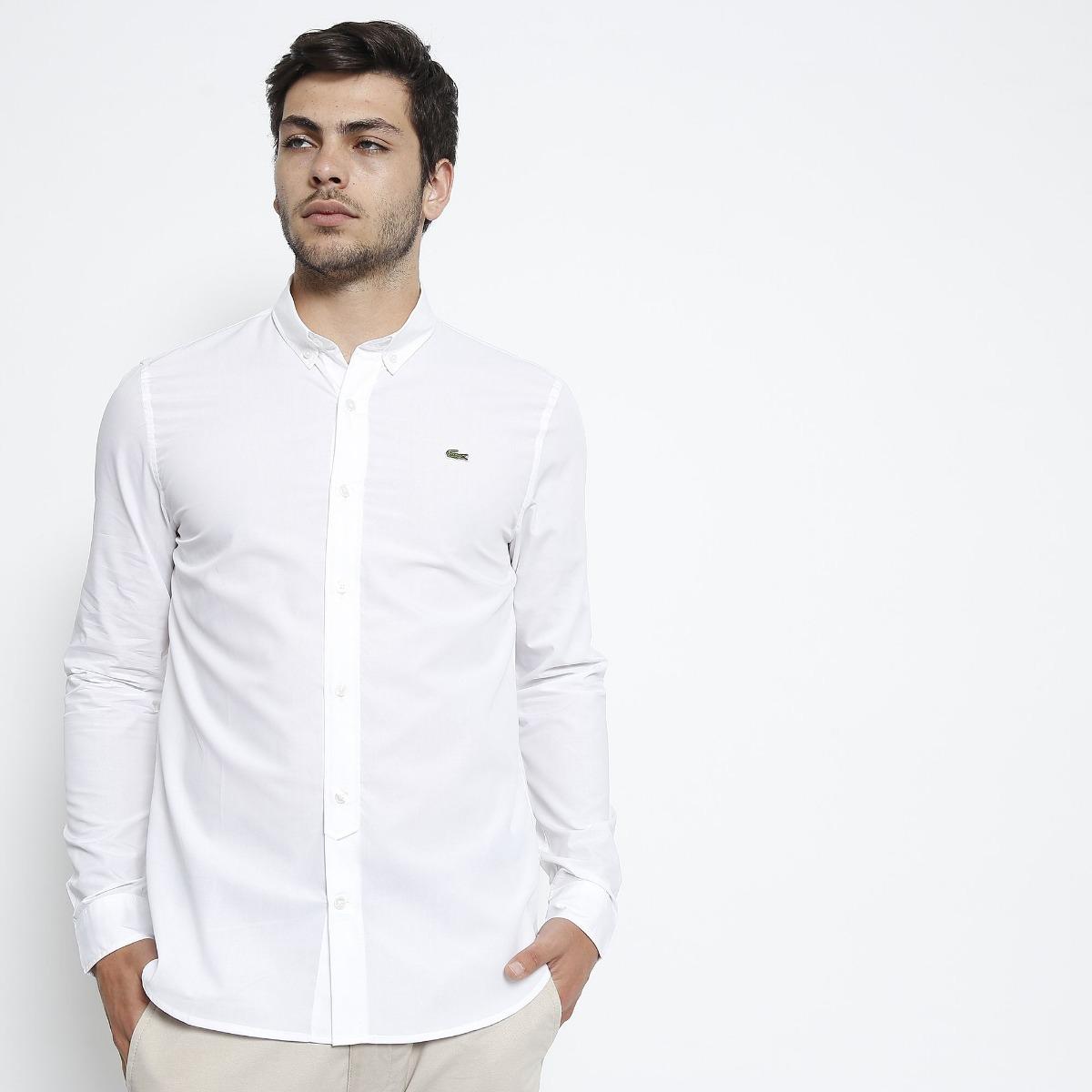 camisa social lacoste masculina slim fit bordado - branca. Carregando zoom. 60e3cafbac