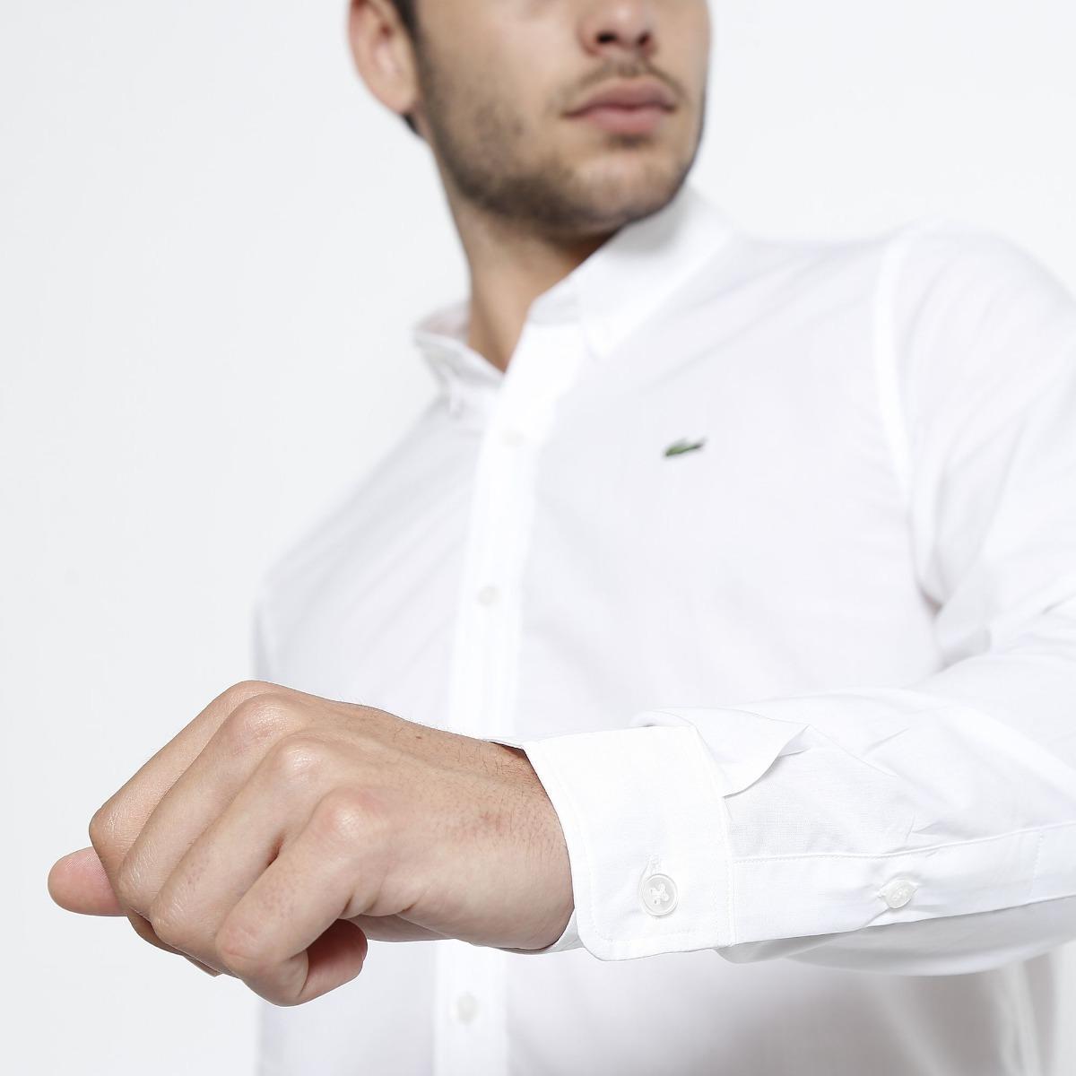 7e76e0306a69c camisa social lacoste masculina slim fit bordado - branca. Carregando zoom.
