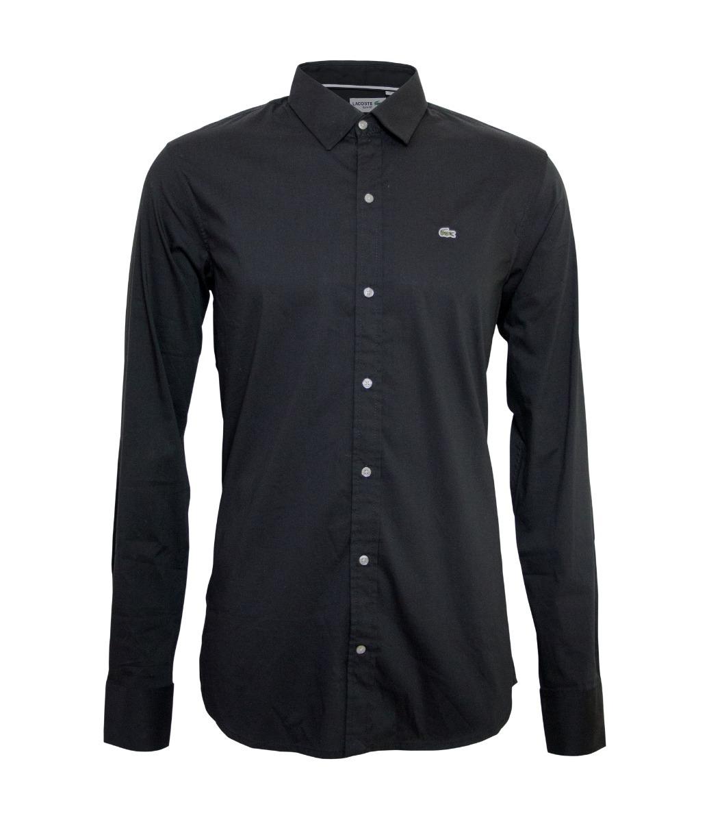f55894944de91 Camisa Social Lacoste Preta Slim Fit Manga Longa - R  287,00 em ...