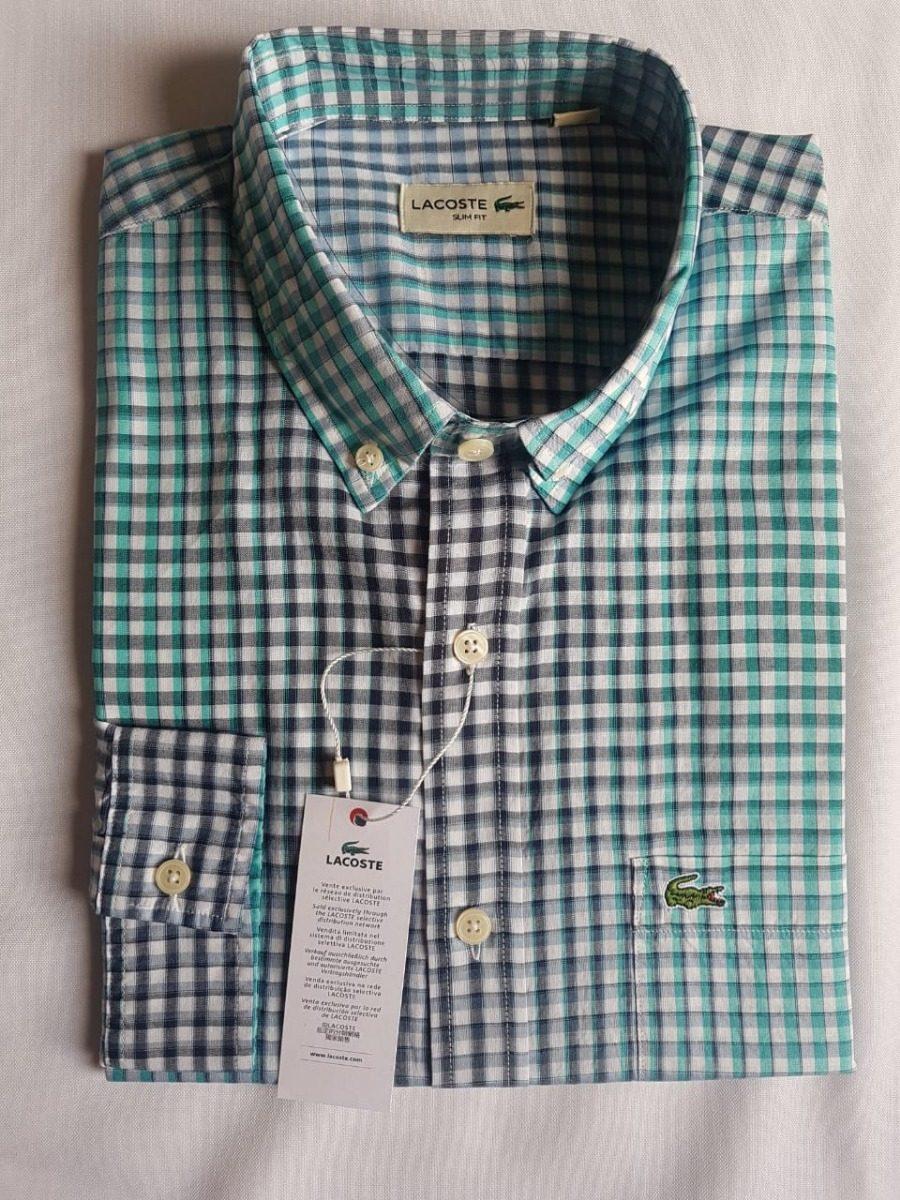 72ec48eaf4617 camisa social lacoste slim fit quadriculada verde degrade. Carregando zoom.