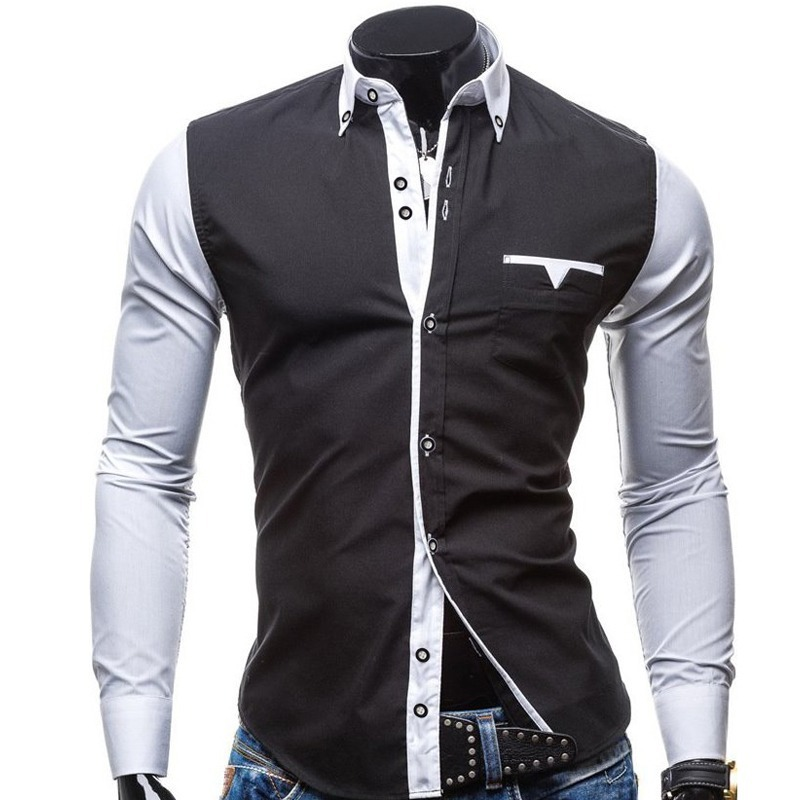 7f8396a4f0 Camisa Social Masculina Moda 2 Duas Cores Preta Manga Branca - R ...