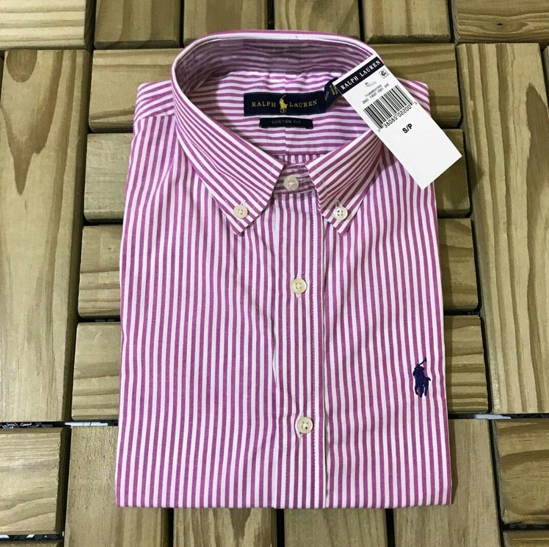 Camisa Social Polo Ralph Lauren Manga Curta Listrada Lilás - R  149 ... 015d6dd356682