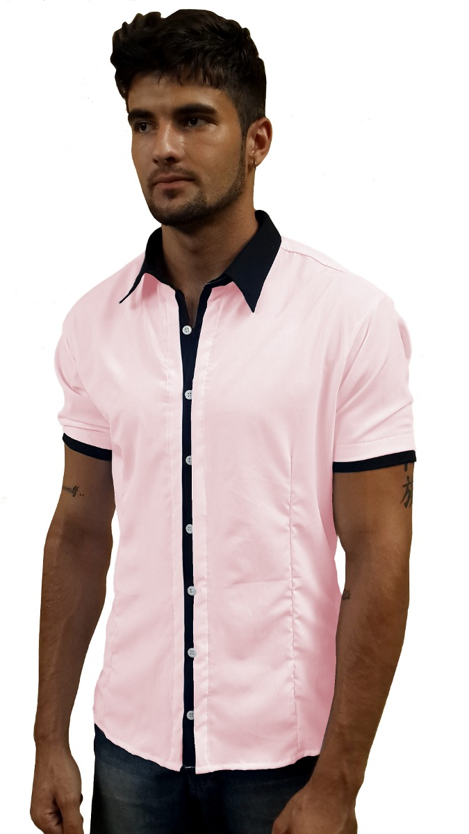 c2fe684b01 Camisa Social Masculina Slim Fit Manga Curta - R  60