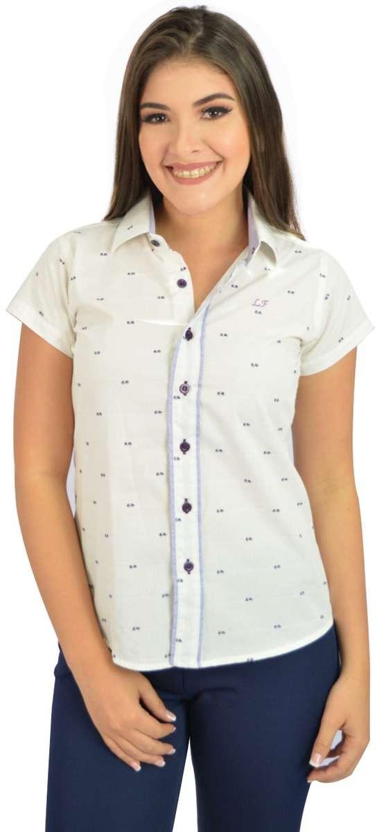 8cfca533bb camisa social manga curta branco e lilas - oferta. Carregando zoom.