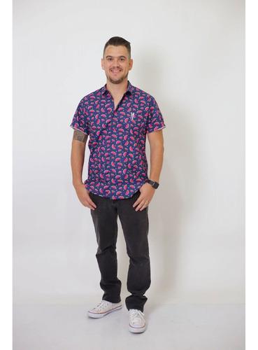 camisa social manga curta melancia adulta