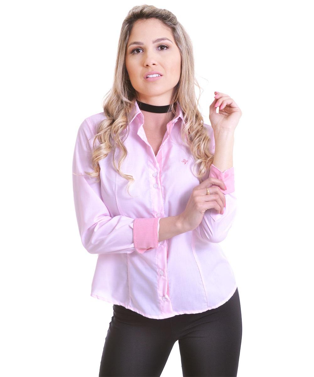 3559a6574 Camisa Social Feminina Manga Longa Slim Rosa Claro - R$ 59,00 em ...