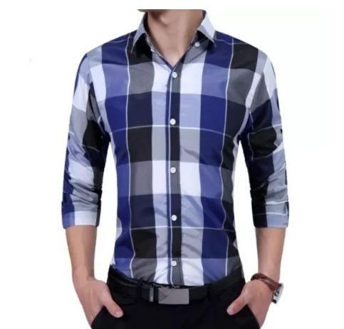 d0302d329a Camisa Social Masculina Xadrez Manga Longa Luxo Slim Moda - R  118 ...
