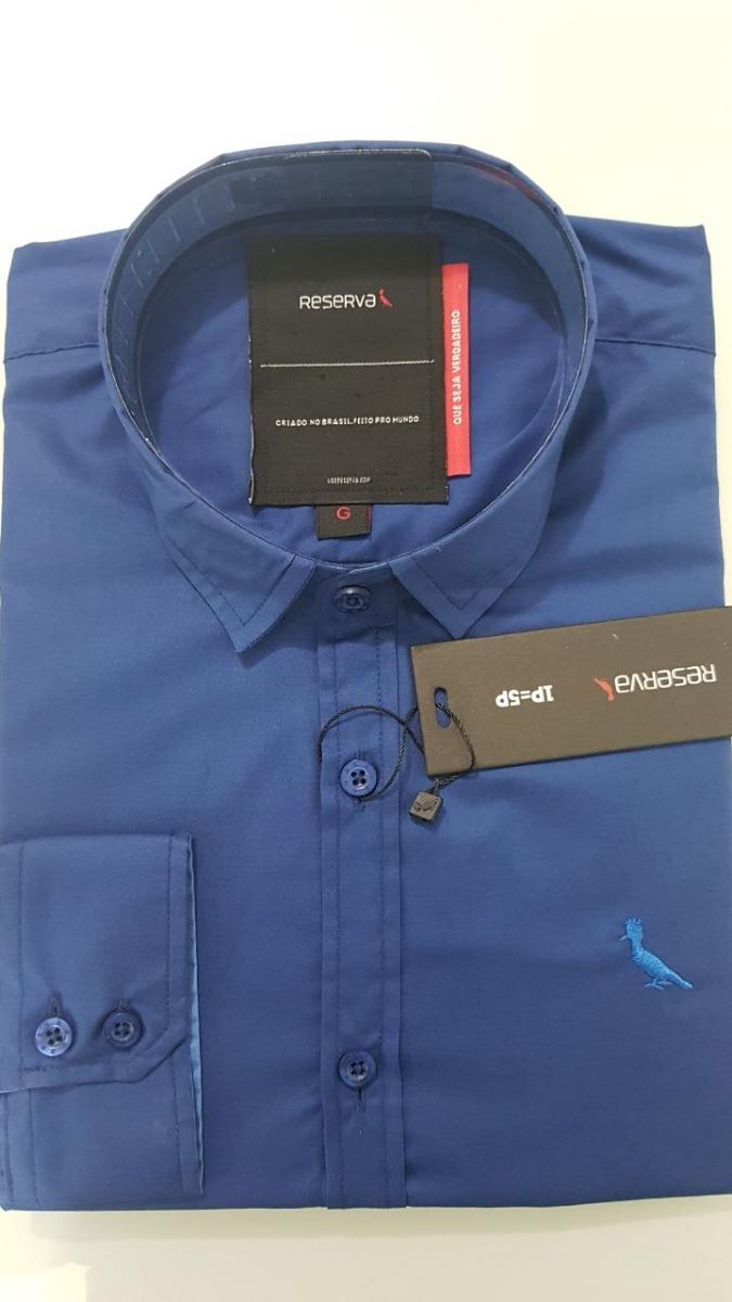 164d7961b0 Camisa Social De Botão Manga Longa Reserva Azul Marinho - R  129