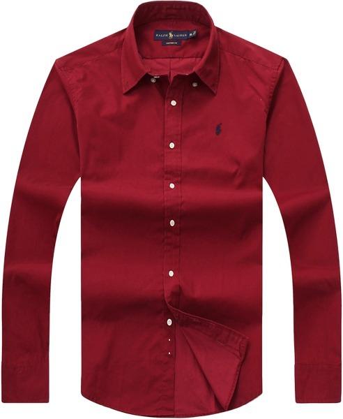 8b24ca9990afe Camisa Social Polo Ralph Lauren Manga Longa Masculina Vinho - R  249 ...