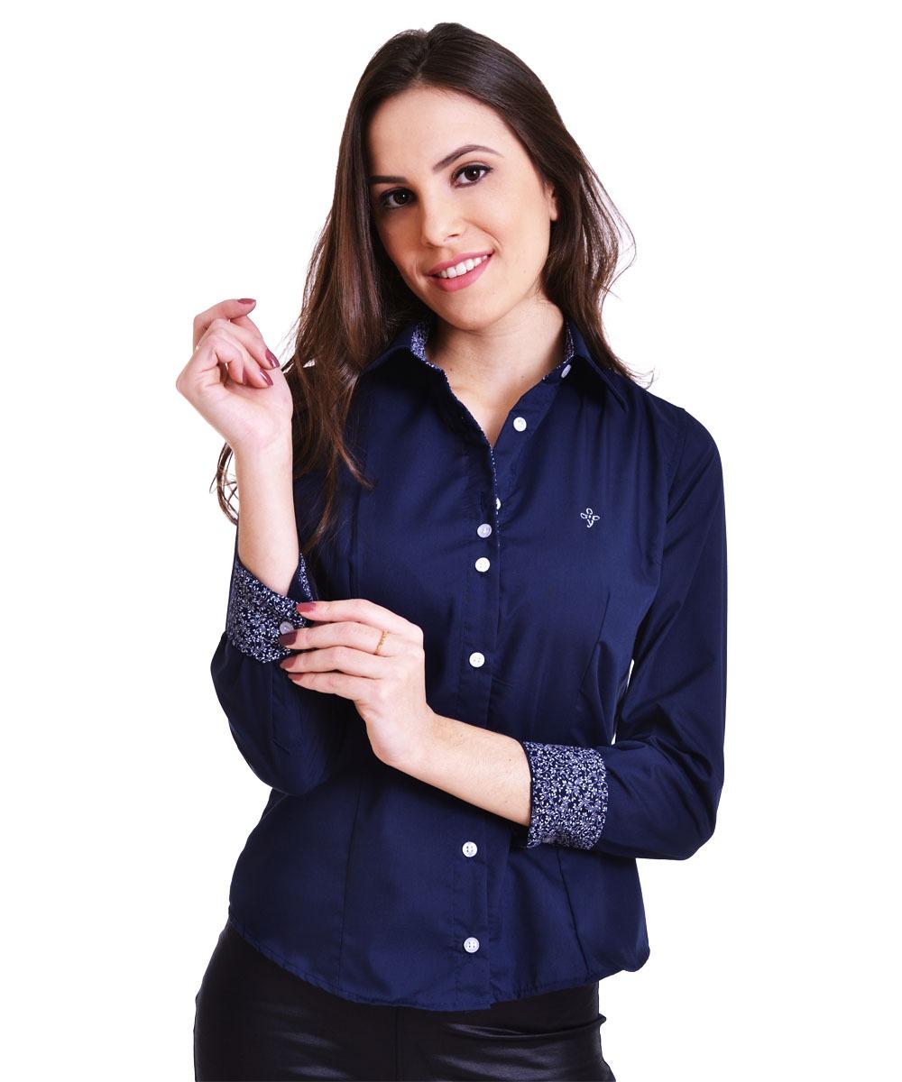 569cc53bc Camisa Social Slim Feminina Azul Marinho Manga Longa - R$ 58,90 em ...