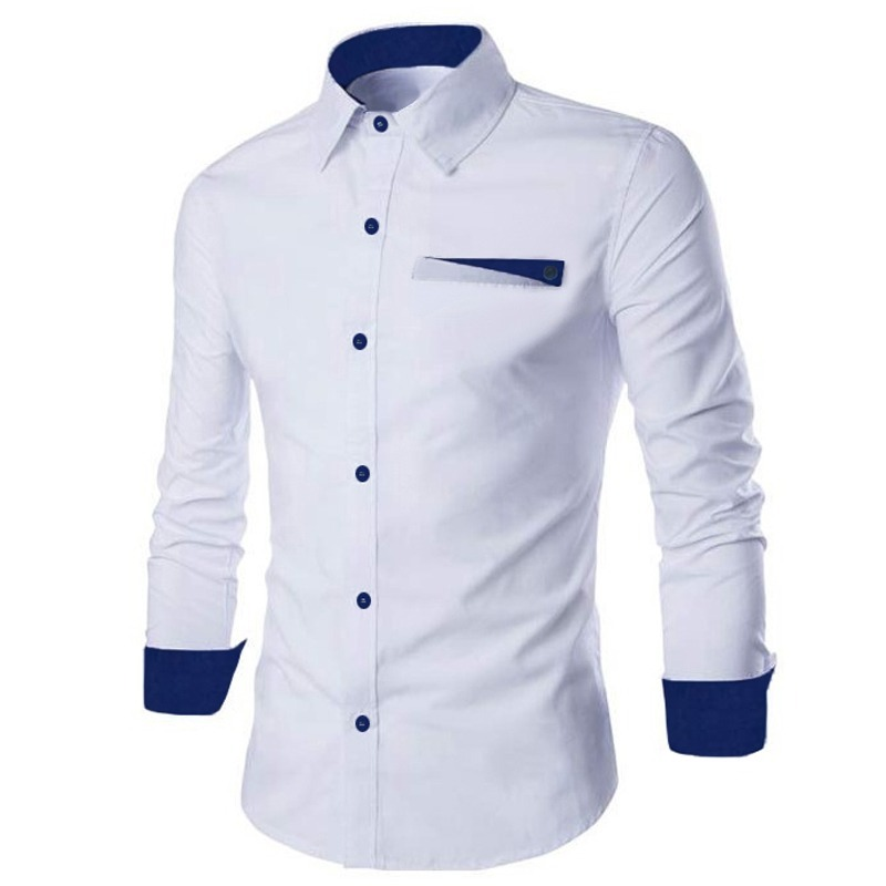 b1811f5a1d Camisa Social Manga Longa Masculina Branca Azul Marinho Slim - R  79 ...