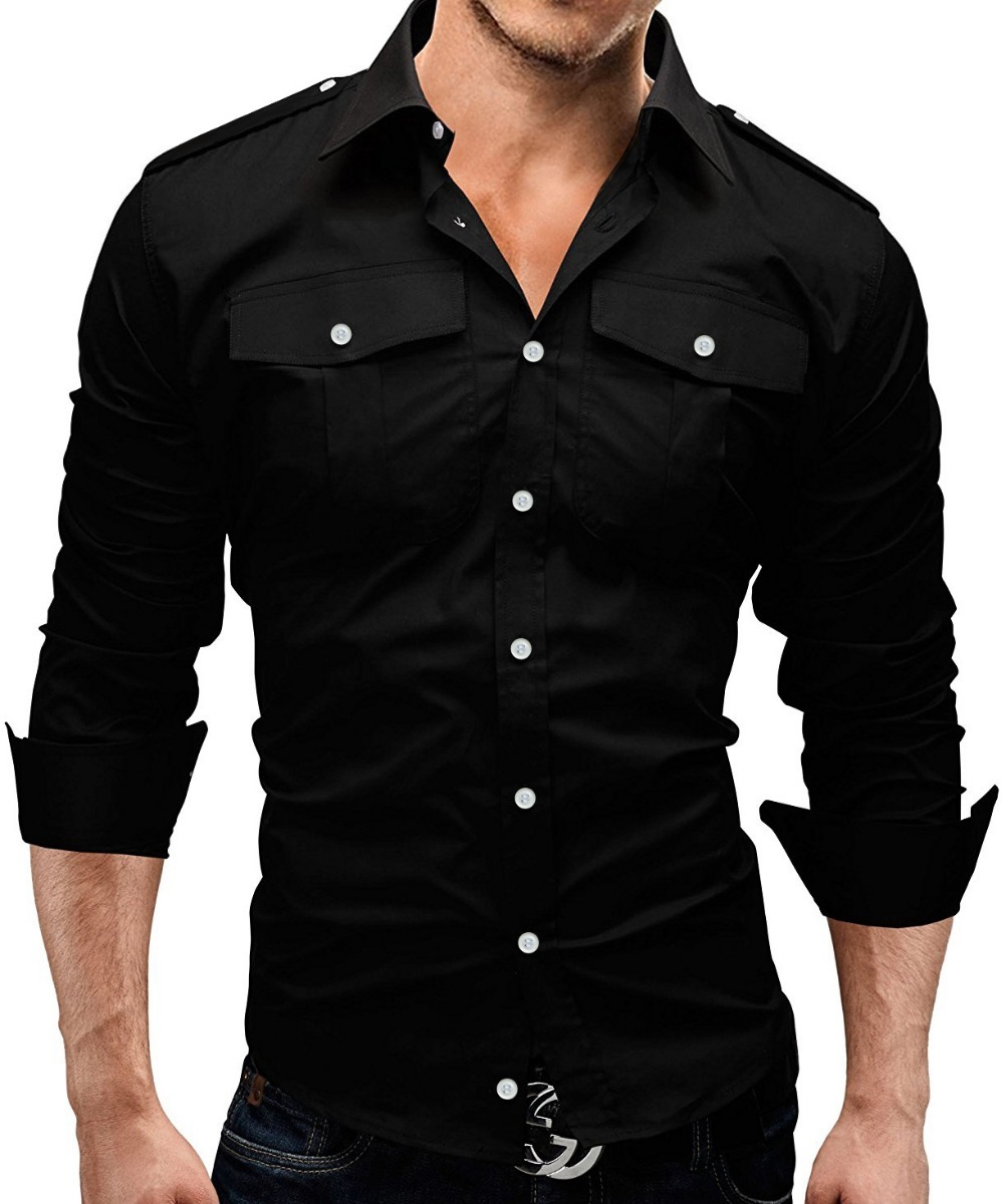 5acdce3733 Camisa Social Masculina Estilo 2 Bolsos Manga Longa Slim Fit - R  79 ...