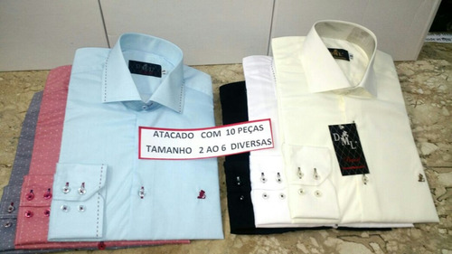 camisa social manga longa kit. com 10 peças cores sortidas
