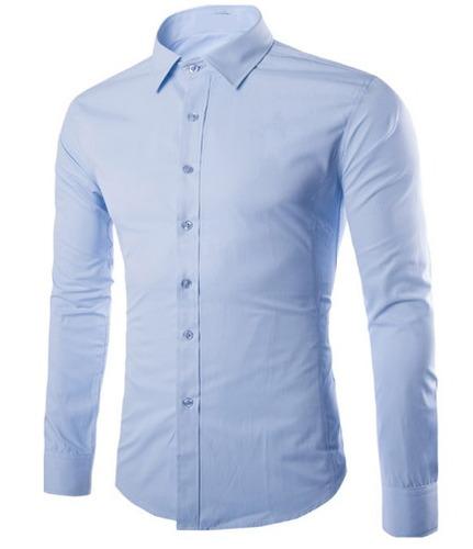camisa social manga longa slim fit estilo básico italiano.