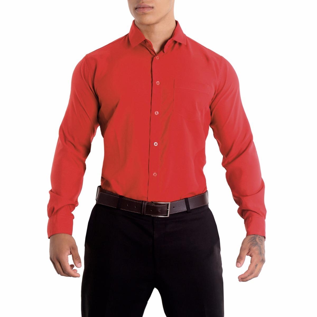 camisa social manga longa vermelha de microfibra. Carregando zoom. 8f9a689b1212e