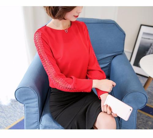 camisa social mangas trabalhada chiffon luxo feminina