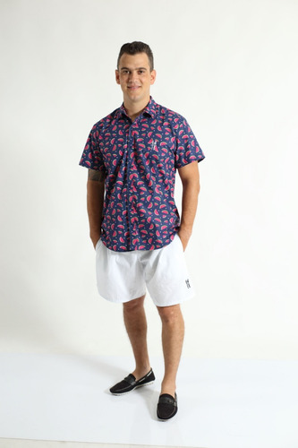 camisa social masculina adulto manga curta