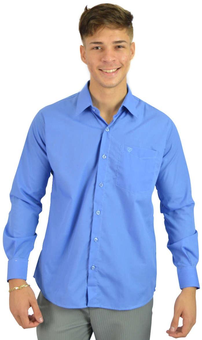 Boutique en ligne ba270 51b89 Camisa Social Masculina Azul Claro Botão - Aproveite Já