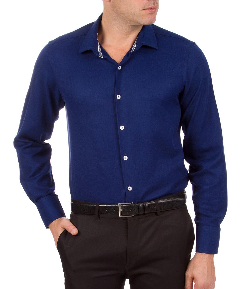 camisa social masculina azul marinho lisa colombo. Carregando zoom. 5cfec002cd6