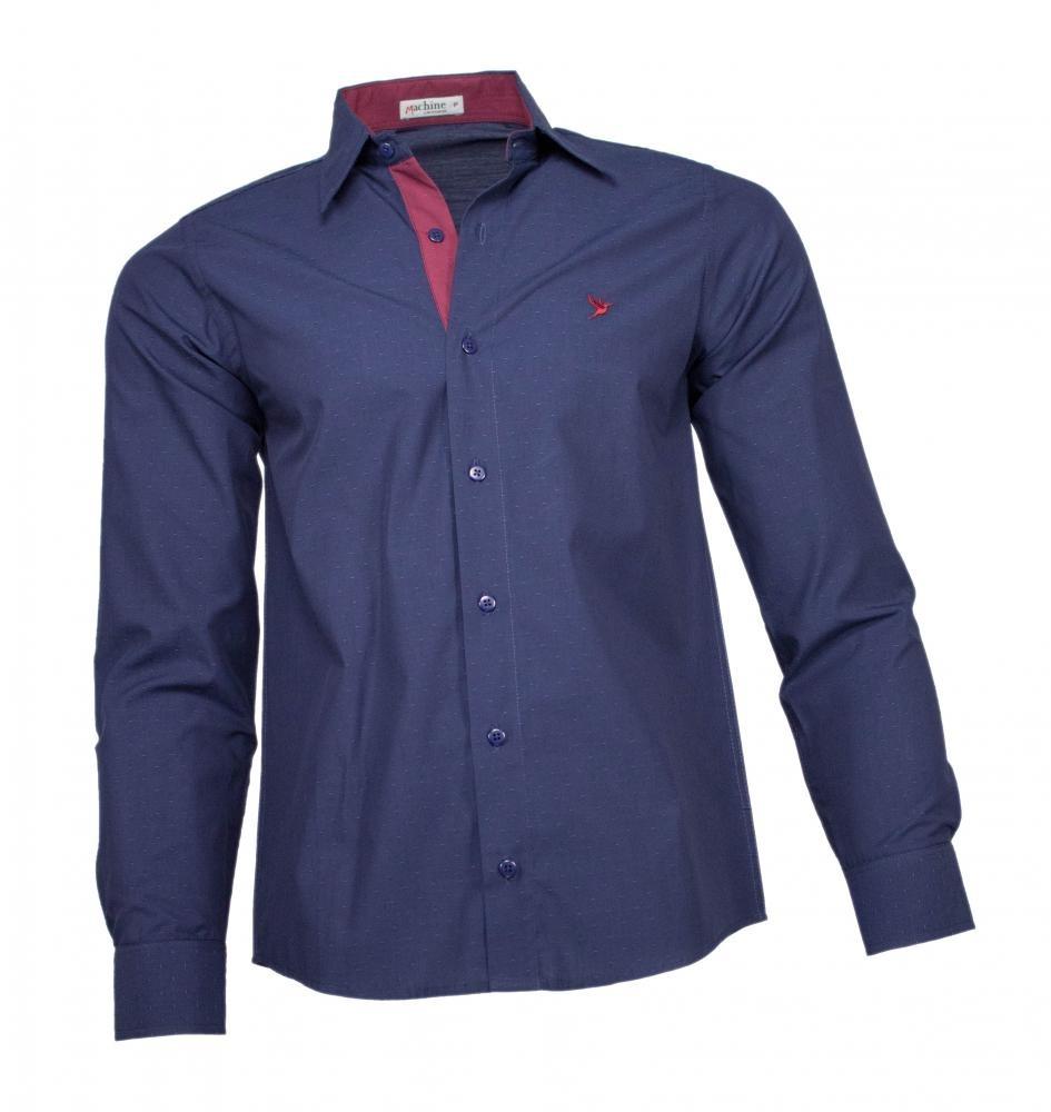 camisa social masculina azul marinho maquinetado. Carregando zoom. 2445aca23d5