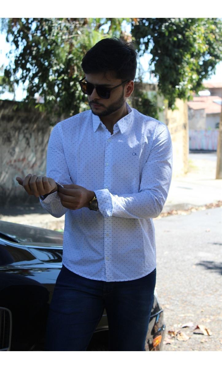 3986e0ca31 camisa social masculina cult slim fit estampada ogochi. Carregando zoom.