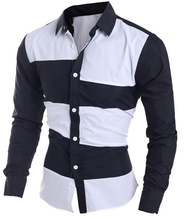 34dab857d0 Camisa Social Masculina Listrada Preta E Branca 2 Duas Cores - R  89 ...