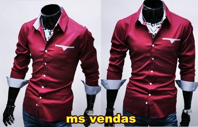 a7dba86f25 Camisa Social Masculina Luxo Slim Fit Entrega Garantida - R  183