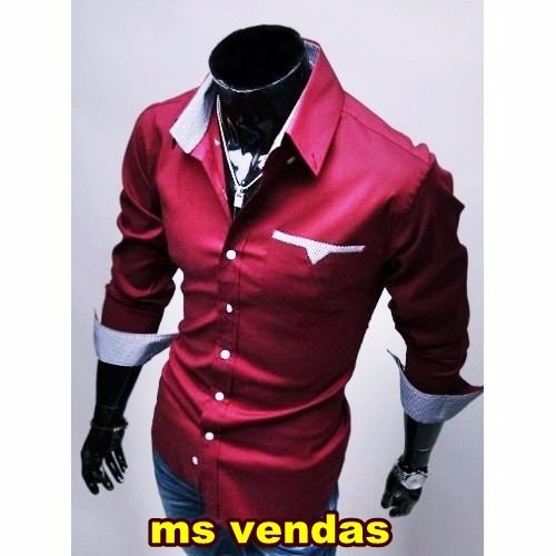 ef7e9c61f Camisa Social Masculina Luxo Slim Fit Pronta Entrega Brasil - R  216 ...