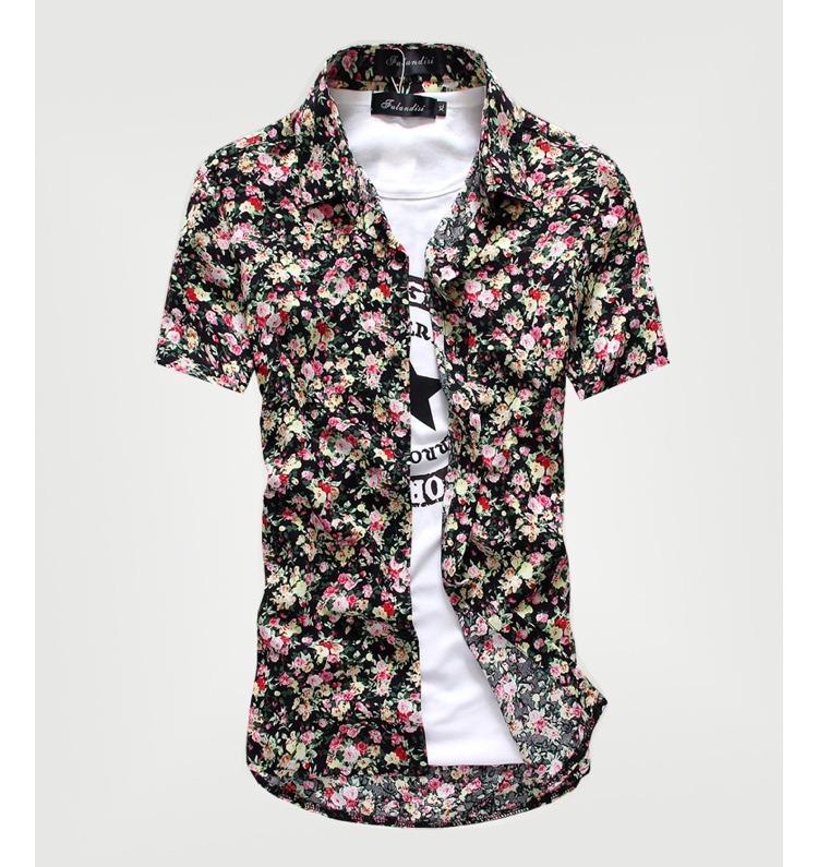 2b76c56b34 Camisa Social Masculina Manga Curta Floral Florida Estampada - R  79 ...