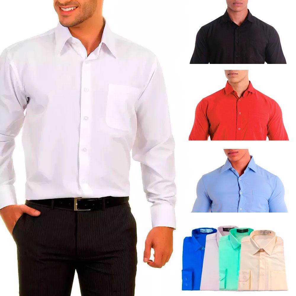 camisa social masculina manga longa - 100% microfibra. Carregando zoom. fb1414d7ee328